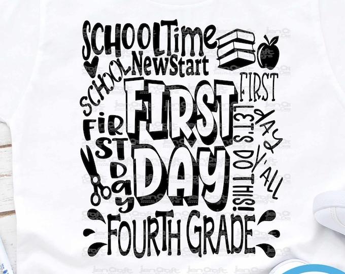 School svg Fourth grade svg Typography Back to School SVG First day svg  4th Grade First Day of School svg, Sublimation Png, Student Eps Dxf