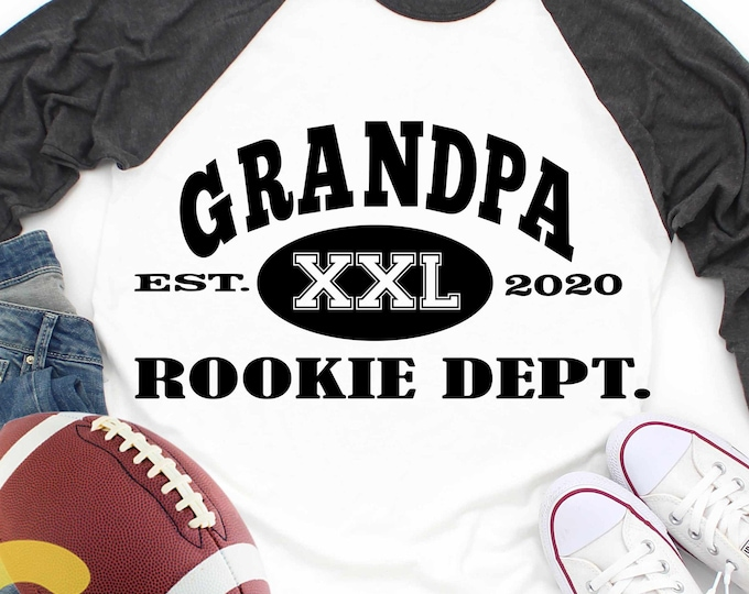 Grandpa Rookie Dept svg new grandfather, established, grandchild birth announcement new baby football svg eps dxf png sublimation digital