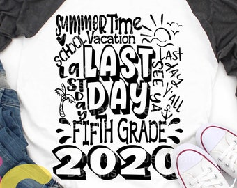2020 5th Grade, Fifth Grade Last day svg Typography of School svg Summer Time Vacation SVG Sublimation Png Graduation EPS Student Dxf