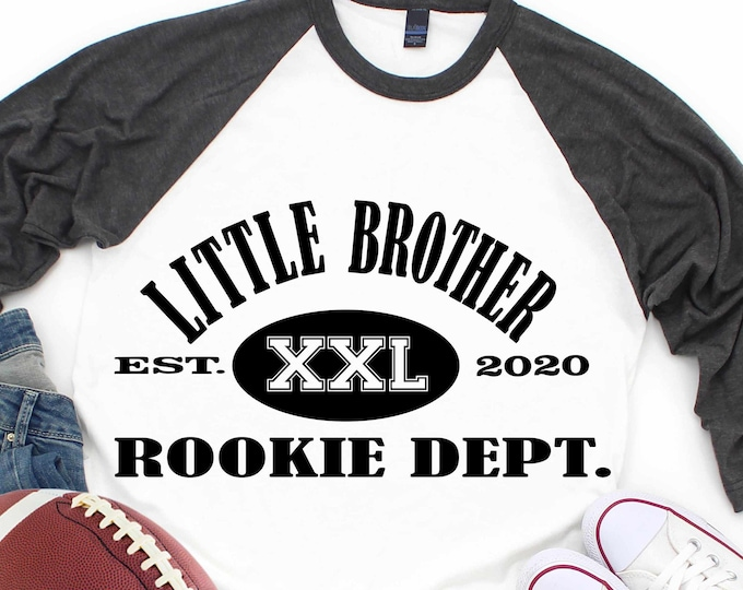 Little Brother Rookie Dept. svg, new brother, established, digital, sibling birth announcement new baby football svg eps dxf png sublimation