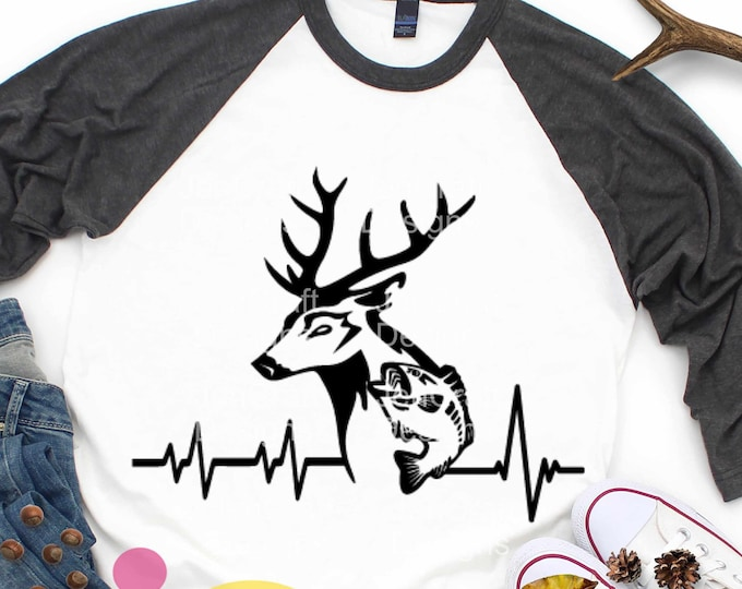 Deer svg Fish SVG Cutting File, Hunting Svg Heartbeat Buck Svg, Png, Eps,Dxf Files, ClipArt, Sublimation Cricut DS, Silhouette, Cut Files