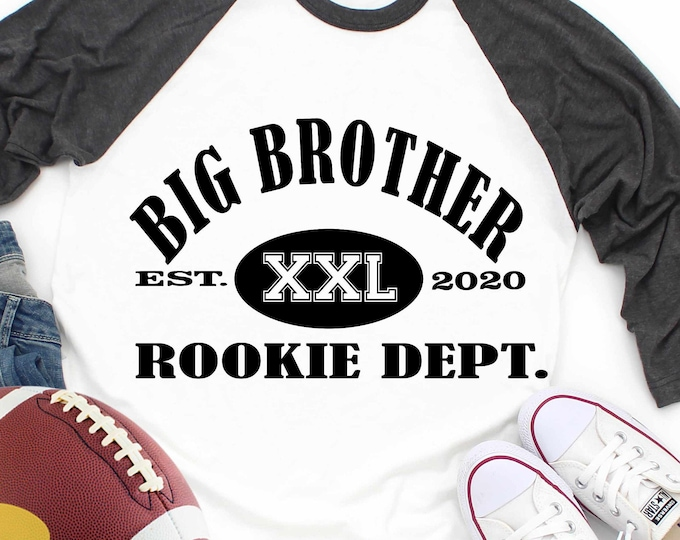 Big Brother Rookie Dept. svg, new Brother, established, digital, birth announcement new baby football svg eps dxf png sublimation
