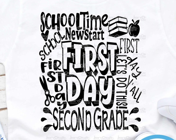School svg Second Grade svg Typography Back to School SVG First day svg 2nd Grade First Day of School svg, Sublimation Png, Student Eps Dxf