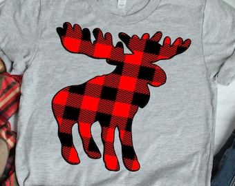Buffalo Plaid Moose svg, Camping Outdoor SVG, EPS Png DXF digital download Silhouette Cricut Clip Art graphics Vinyl Cutting Machines