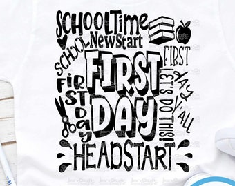 Headstart svg Back to School SVG First day svg  school Grade Typography First Day of School svg, Sublimation Png, Student Eps Dxf