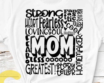 Mom SVG, Mother SVG, typography word art, Mommy mamma mama Mothers day Sublimation - Cut File Shirt Design SVG, Eps, Dxf, Png