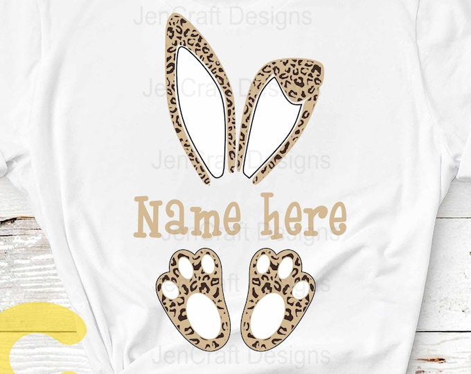 Easter svg, Cheetah print bunny ears feet, Leopard print ears SVG, Eps, Dxf PNG Easter Leopard Rabbit sublimation digital design clipart