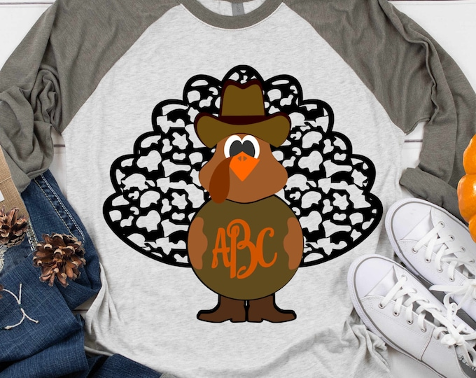Turkey Svg Fall Monogram Frame Cowboy Cow print Feathers SVG, EPS, Png, DXF, Fall Cowboy Cut files for, Vinyl Cutters  Layered Cut Files