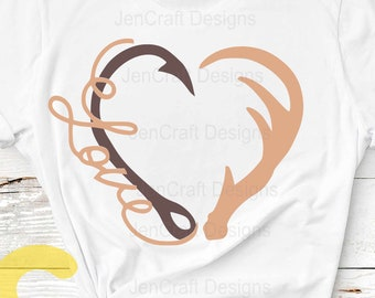 Hunting svg Hook and Antler svg Heart Love Hunting Fishing Cut File Set in Svg, eps, dxf and PNG Format for Cricut and Silhouette