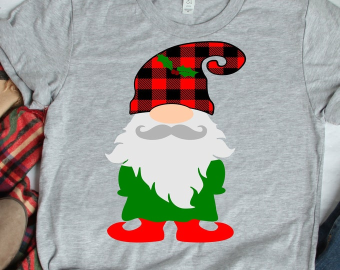 Plaid Nordic Gnome SVG Christmas SVG, Buffalo Plaid Christmas Elf Gnome Clipart, SVG Files Eps Dxf Png Cricut SIlhouette cut file svg design