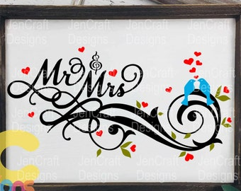 Wedding Svg Bride Mr & Mrs SVG, Husband and Wife Groom SVG, DXF, eps, png Cutting Machines Cameo, Cricut Print Cut File Digital