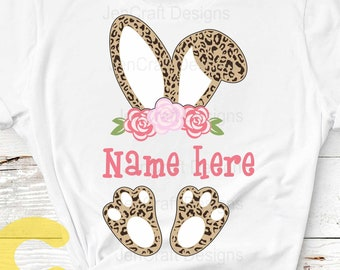 Easter svg, Floral Cheetah print bunny ears feet, Leopard print SVG, Eps, Dxf PNG Easter Leopard Rabbit sublimation digital design clipart