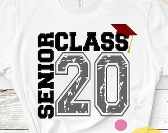 Senior SVG Class of 2020 svg, Distressed  grunge Graduation SVG, High School svg Graduation svg, Graduate Grad Cap Eps Dxf Png Sublimation