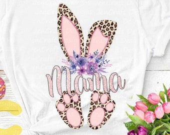 Mama Cheetah bunny PNG. Easter Leopard Print ears and feet with flower Rabbit sublimation digital design Easter clipart printable printing