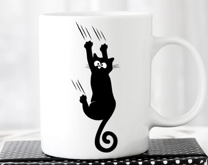 Cat svg, Black Cat svg, Hanging cat svg, hang in there, svg, falling cat, pet svg, Funny Cat Svg shirt design Sliding down coffee cup design