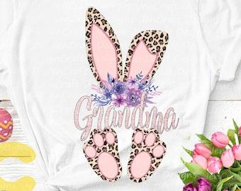 Grandma Cheetah bunny PNG Easter Leopard Print ears and feet with flower Rabbit sublimation digital design Easter clipart printable printing