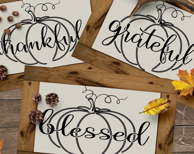 Autumn Thankful Grateful Blessed Pumpkin SVG, Eps, Dxf, Png Cricut files Printable PNG Happy Thanksgiving Fall Greetings SVG Cricut