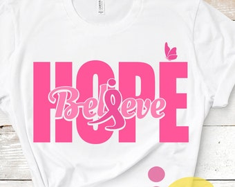 Survivor Fighter Breast Cancer Awareness Ribbon SVG Believe Hope SVG Cut Files -Svg, Eps, Dxf and PNG Cricut Design Space, Silhouette Studio