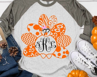 Girl Turkey SVG Monogram Frame Leopard Cheetah Print Thanksgiving  Cricut, Silhouette, Svg, eps, dxf Cut File, Png Print file