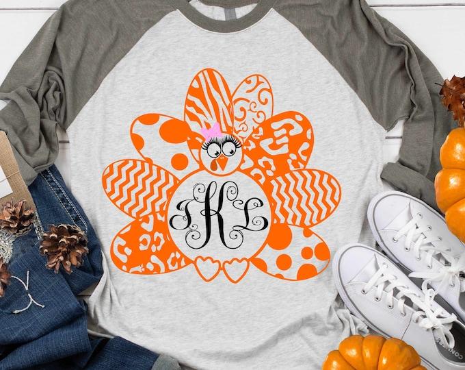 Girl Turkey SVG Monogram Frame Leopard Cheetah Print Thanksgiving  Cricut, Silhouette, Svg, eps, dxf Cut File, Png Print file