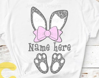 Easter svg, Cheetah print bunny ears bow feet, Leopard print ears SVG, Eps, Dxf PNG Easter Leopard Rabbit sublimation digital design clipart