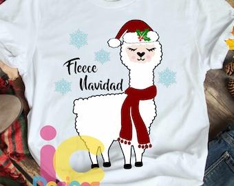 Fleece Navidad Llama Christmas SVG Llama svg, Alpaca svg Cute svg, Girl, Cut file design Svg, Eps, DXF, Sublimation printablePNG