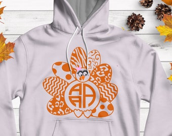 Girl Turkey SVG Monogram Frame SVG,EPS Png Dxf, studio files for Cricut, Silhouette, Vinyl Cutters and Screen Printing Layered Cut Files