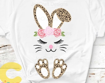 Easter svg, Floral Leopard print bunny face ears feet Cheetah print SVG Eps Dxf PNG Easter Leopard Rabbit sublimation digital design clipart