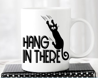 Hang in there Cat svg, Black Cat svg, falling cat, pet svg, Funny Cat Svg shirt design Sliding down coffee cup design