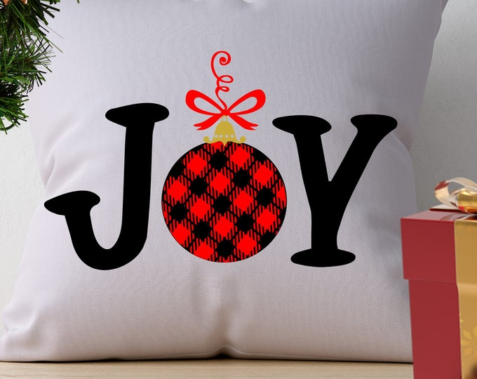 Christmas SVG JOY Buffalo Plaid Holiday Design, Ornament Joy Ful Pattern cut file Svg, Eps, Dxf, Png Cricut Silhouette