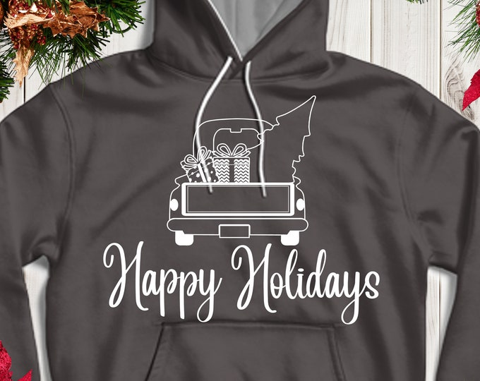 Christmas Truck SVG file, Happy Holidays Red Truck Svg Tree Vintage truck SVG classic truck svg cut File, DXF, eps, png Silhouette, Cricut