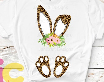 Cheetah print bunny ears and feet with flower PNG. Easter Leopard Rabbit sublimation digital design Easter clipart printable printing