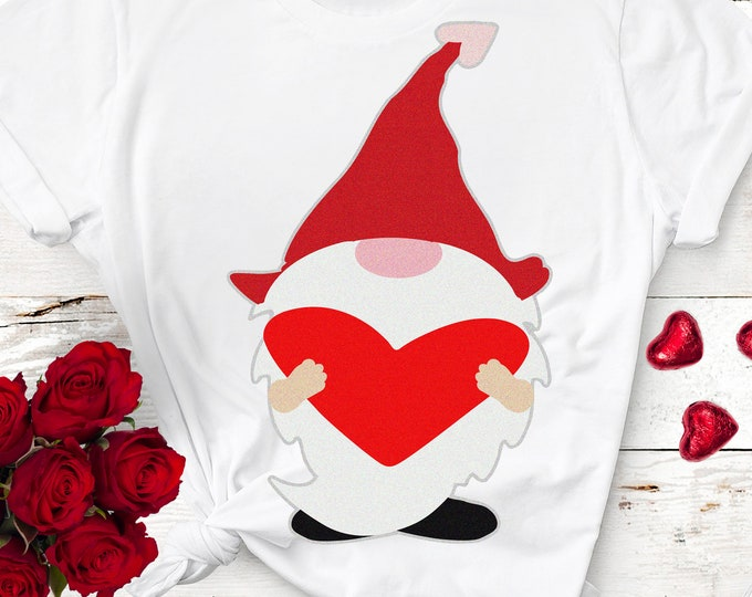 Valentine Gnome SVG, Valentines svg, Gnome Holding heart svg, Tomte Valentines day svg, girls valentine shirt design, valentines day clipart