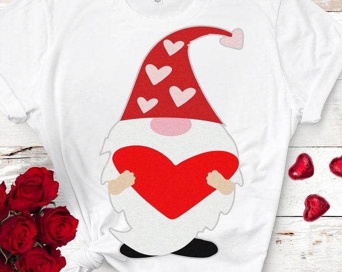 Heart Valentine Gnome SVG, Valentines svg, Gnome Holding heart svg, Tomte Valentines day svg, girls shirt design, valentines day clipart