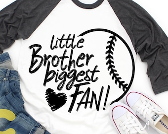 Little Brother Svg, Baseball SVG Biggest Fan printable Sublimation shirt design Softball T ball Sport Team Sibling cut file brother shirt
