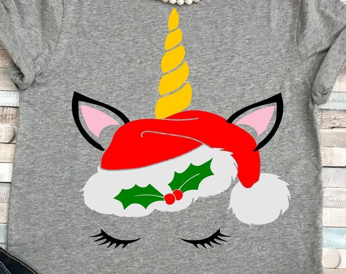 Christmas unicorn svg, Christmas svg unicorn with eyelashes face head, Christmas svg, EPS, DXF, girls Christmas, girls svg, digital download