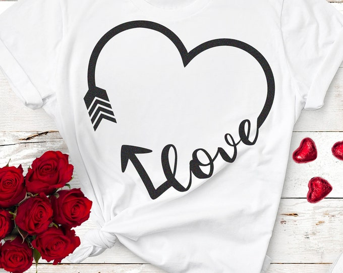 Valentine svg, Love arrow Svg, Valentines day svg, wedding svg, heart svg, Love with arrow svg cutting files, Eps, Dxf, Png Cut file design