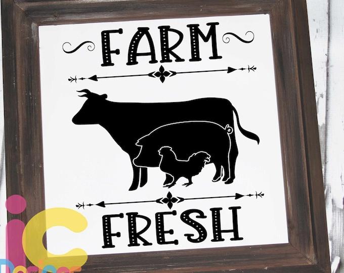 Kitchen svg design Farm Fresh Cow SVG, Pig SVG, Chicken SVG, farm svg, farm svg, farm signs Svg, Eps, Dxf, Png cricut silhouette sublimation