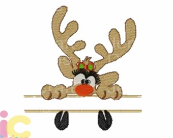 Girl Reindeer Split Peeking Embroidery Monogram Frame Design, 5x7, Instant Download digital file in PES, EXP, VIP, Hus, Xxx and Jef
