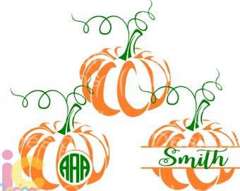 Pumpkin SVG Thanksgiving svg Monogram Frame Fall Design Cut Files, Cricut, Silhouette, Digital Cut Files svg dxf, eps, png designs