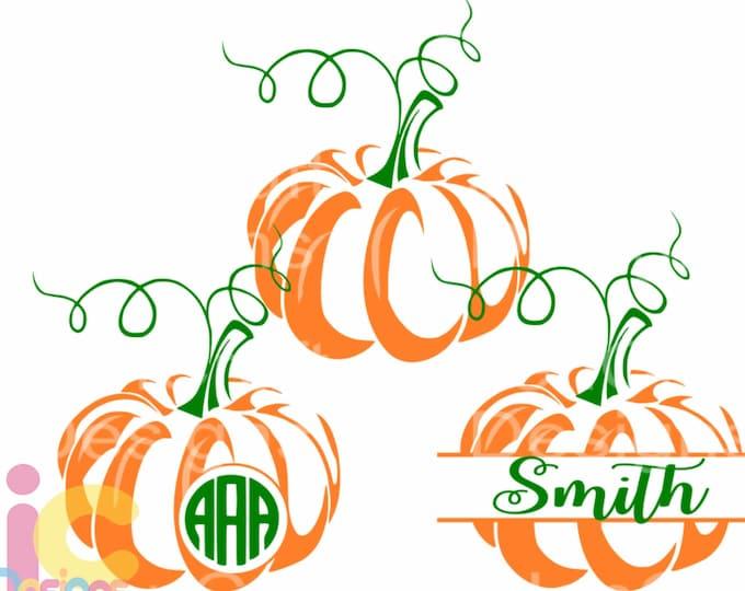 Pumpkin SVG Thanksgiving svg Monogram Frame Fall Design Cut Files, Cricut, Silhouette, Digital Cut Files svg dxf, eps, png designs