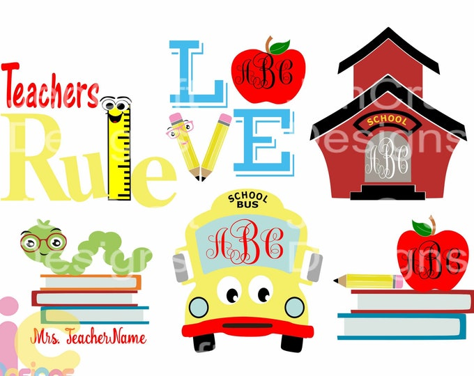 Teacher svg, Back to School svg 100 days of school Digital Design Cut Files svg, dxf,eps, png Student appreciation Bundle Silhouette Cricut