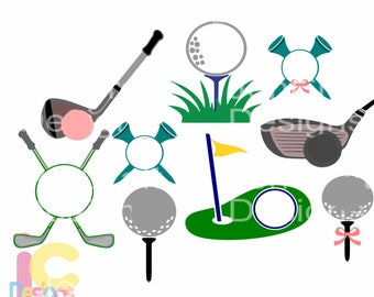Golf SVG Monogram Golf ball svg, Putter svg, Golf tee svg, Golfing Green svg, Golfing Dad Fathers day svg, DXF, EPS, Png