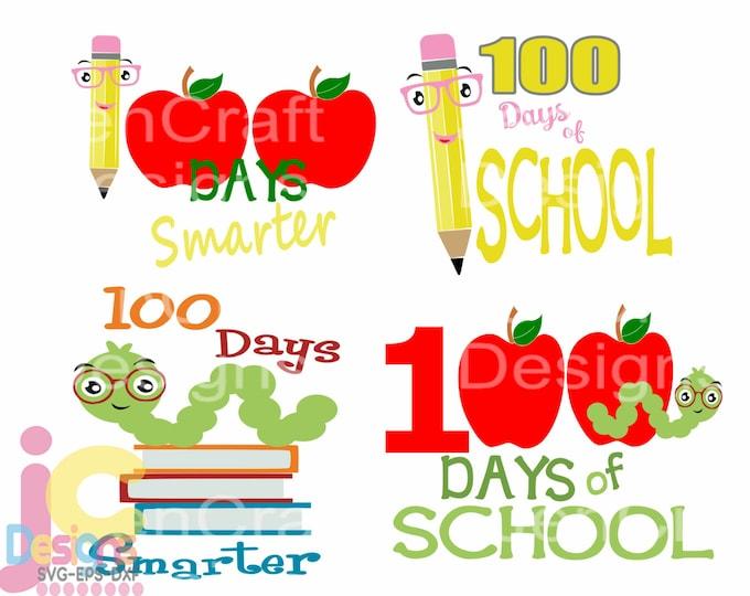 100 days of School svg 100th day of school svg School Days SVG EPS DXF Png Silhouette Cricut, Vector Art Vinyl Digital Design Cut Cut File