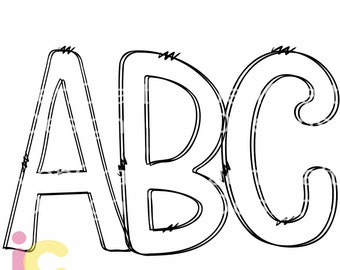 Doodle Letters SVG Transparent Hand Drawn Alphabet Letters Svg, Eps, DXF, PNG Customizable Alpha Pack Cut file Sublimation Design Printable