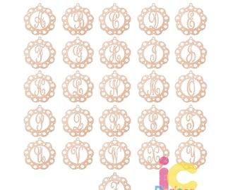 Initial Monogram Car Charm Svg, Eps, Dxf, Png Glowforge, Cricut, Silhouette laser Cut File keychain svg, hanging charm