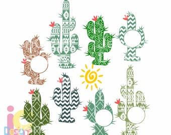 Cactus svg Monogram cinco de mayo svg Desert Cacti frame, Western, Aztec, monogram cut file, SVG, Eps, Dxf, Png Cut File Clipart