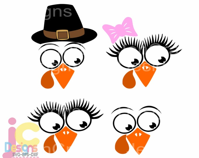 Cute Turkey svg, Thanksgiving svg Eyelashes Pilgrim Hat on Turkey face, SVG,EPS Png DXF, Cricut, Silhouette Sublimation print and cut file