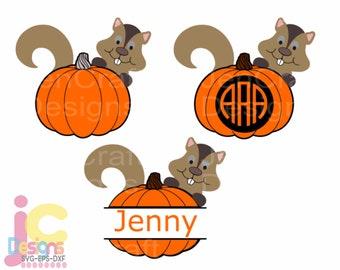 Fall Pumpkin Monogram Frame SVG, Thanksgiving Svg, Cute Squirrel with autumn Pumpkin svg, eps, dxf, png Cut files