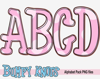 Alphabet bundle, Pink Dots Hand drawn Bumpy Knots printable font, alpha pack, PNG file for sublimation, A to Z letters create your own words